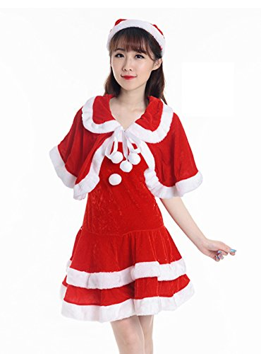 [YFFaye Women's Split Christmas Santa Claus Costume Party Red Dress Set] (1960s Batman And Robin Costumes)