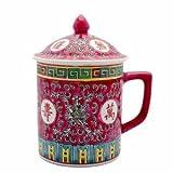 Asian Porcelain Mug for Tea or Coffee with Lid - Beautiful Fuchsia w/Rose Calligraphy ~ Importer
