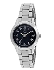 Zerk Dual Style Crafted On Crystal Analog Black Dial Women's Watch Zk-w89