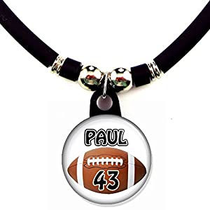 Personalized Football Necklace with Your Name and Number, PERSONALIZE BY EMAIL