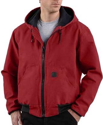 Men's Carhartt Mesh - lined Sandstone Duck Active Jacket, DARK RED, SM