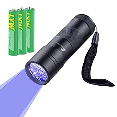 MOOBOM 12 LED UV Torch Violet Electric Flashlight Pets Ultra Blacklight LED Spot Pet Urine Detector Dog Cat Stain Remover Fluorescent Whitening Agents Detector Find Dry Stains on Carpets Rugs Curtains Fabrics Currency