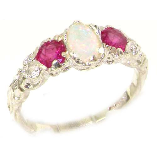 Ladies Solid Sterling Silver Natural Opal & Ruby English Victorian Trilogy Ring - Size 12 - Finger Sizes 5 to 12 Available - Suitable as an Anniversary ring, Engagement ring, Eternity ring, or Promise ring