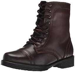 Steve Madden Jtroopa2 Combat Boot (Little Kid), Brown Leather, 3 M US Little Kid
