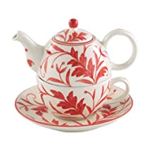 Tea for One - Cup Teapot and Saucer - Red Leaf By Andrea Sadek