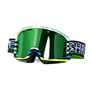 Shred Optics Monocle Goggles Lines White Multi Green Mirror, One Size by Shred Optics
