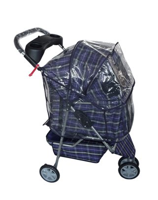 Blue plaid 3 Wheels Pet Dog Cat Stroller w/RainCover