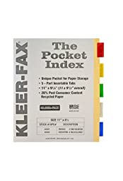 Kleer-Fax Insertable Pocket Indexes, 5 Tab - Assorted Color, Manila Paper, 11 x 9-1/8 Inches, One Set, 44501 (44501)