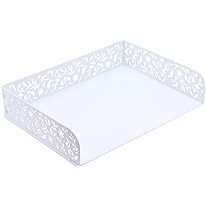 Amazoncom design ideas vinea letter tray white for Decorative stacking letter trays