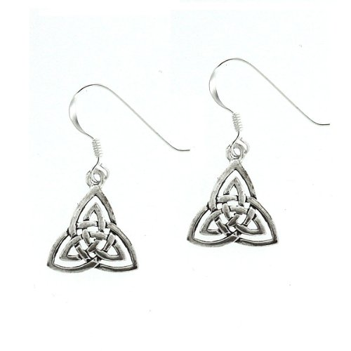 .925 Sterling Silver Nickel Free Holy Double Trefoil Knot Celtic Trinity French Hook Earrings