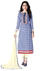 Justkartit Women's Blue & Cream Colour Cotton Resham Embroidery Casual wear Salwar Suit / Work Wear Dress Material / Office Wear Salwar Suit ( June 2016 Collection)