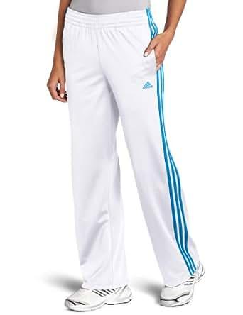 adidas Women's 3 stripes Pant, White/Bright Blue, Medium