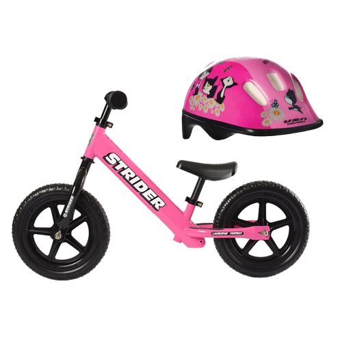 Strider ST-4 Kids Running Balance Bike (Pink) with Girl's Toddler Helmet Kittens in Pink