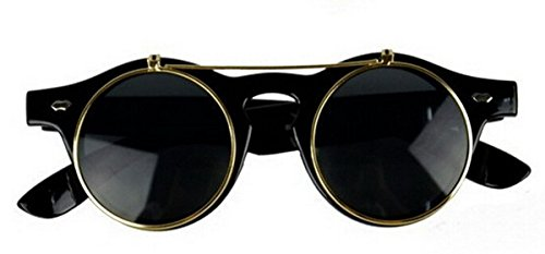 Retro Steampunk Round Sunglasses for Men Women Flip Up Sunglasses black