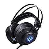 Universal Gaming Headset with Noise Cancelling, Retractable Mic - High Tech Headphones for PC, Laptop, Playstation, PS4-7.1 Virtual Surround Sound with Real-Life Vibration, LED Light, USB Plug-in (Color: BLACK)