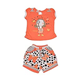 Baby Bucket Premium Summer suit Baby Girl's Cartoon Print on Sleeveless Top with Half Pant (Orange, 6-9 Months)