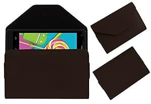 Acm Premium Pouch Case For Celkon Millennium Elite Q470 Flip Flap Cover Holder Brown