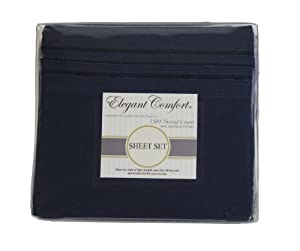 "Elegant Comfort ® 1500 Thread Count Luxurious 100% Manufacturer Guaranteed Ultra Soft 4 pc Sheet set, Deep Pocket Up to 16"" - Wrinkle Resistant , King Navy"