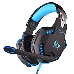 ZaKitane EACH G2100 Blue Vibration Function Professional Gaming Headphone Games Headset with Mic Stereo Bass LED Light for PC Gamer