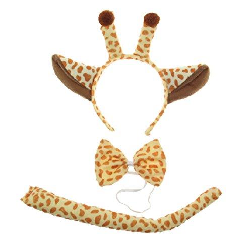 [Kids Giraffe Costume Headband Ears Tail Safari Dressup Costume Set] (Unique Toddler Girl Costumes)
