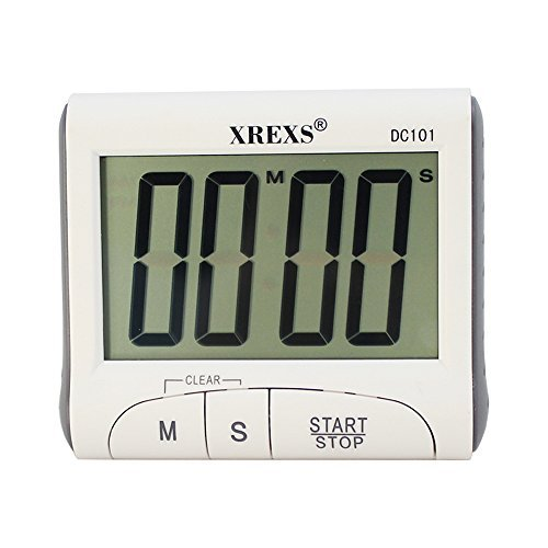XREXS Large LCD display Digital Clock and Count-Down Timer,Alarm Clock, Sport Stopwatch (DC101)