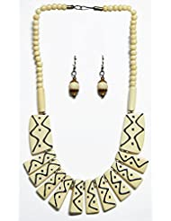 DollsofIndia Off-White Bead With Black Paint Designer Necklace And Earrings - Stone - White