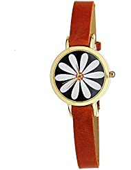 Zillion Small Petal Print Dial Light Brown Strap Analog Watch For Women, Girls