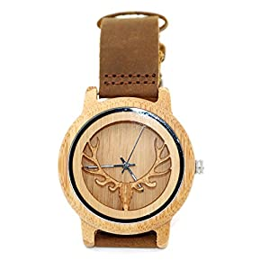 Bisika Women Man Lady Girls Boy Hollowed-out Deer Wooden Watches Handmade Leather Strap Chain Band White