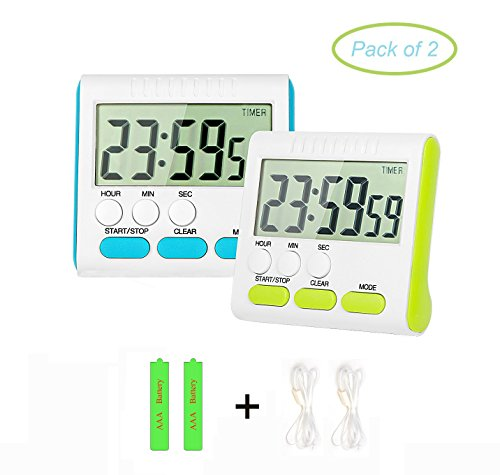 Digital Kitchen Timer PJS-MAX 24 Hour Cooking Timer Clock with Clear LCD Display Loud Alarm Magnetic Back and Retractable Stand (Blue and Green) (Timer Stand compare prices)