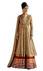 Stylelok Womens Georgette Unstitched Salwar Suit Dress Material (Sl 1715220 _Beige _Free Size)