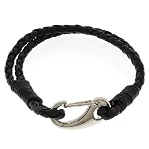 Men's 8 Inch Black Leather Bracelet With Stainless Steel
