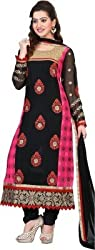 silvermoon fashion women's Georgette Embroderied Unstitched Dress Material -1036_Black_Freesize