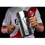 Fernet/Beer Glass Guiro Cup With Holder & Scraper - Stainless Steel Finish - Professional Latin Percussion Instrument - Cuban Guira - Musical Merchandise with Logo RIVER PLATE - Gift Cup (Tamaño: RP)