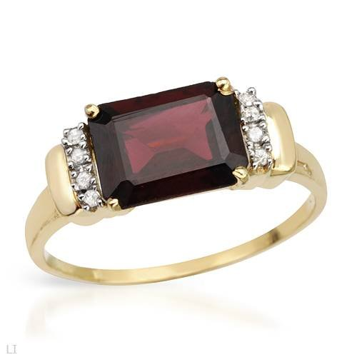 Ring With 2.30ctw Precious Stones - Genuine Diamonds and Garnet Crafted in Yellow Gold (Size 7)