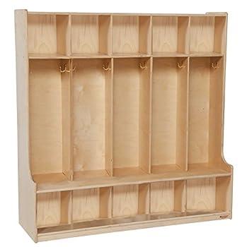 "Wood Designs WD51000 Five-Section Seat Locker, 49 x 48 x 15"" (H x W x D)"