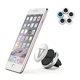 Car Mount, VINIOUS Magnetic Car Mount Holder Cradle with Fast Swift-Snap Technology and Luxury Aluminum Alloy for Smart Phones and Mini Tablets (Silver)