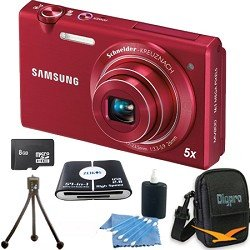 Samsung Multiview MV800 14.1MP Digital Camera with 5x Optical Zoom (Black) Bundle Includes 8 GB Memory Card, Card Reader, Deluxe Carrying Case, Mini Tripod, and 3Pcs. Lens Cleaning Kit
