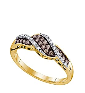 10kt Yellow Gold Womens Round Cognac-Brown Colored Diamond Band Fashion Ring (.20 cttw.)
