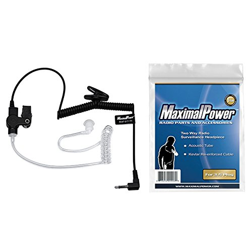 MaximalPower RHF 617-1N 3.5mm RECEIVER/LISTEN ONLY Surveillance Headset Earpiece with Clear Acoustic Coil Tube Earbud Audio Kit For Two-Way Radios,