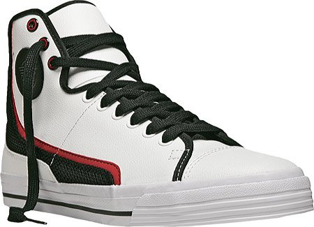 PF Flyers Glide Leather Casual Shoes,White/Black Leather,12 M US