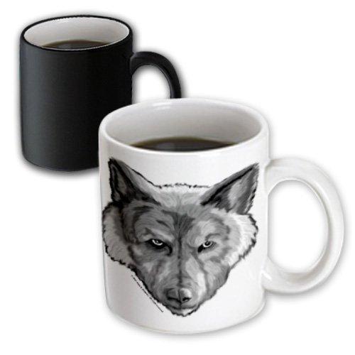 Mug_23202_3 Art Of Jolie E Bonnette Creatures - Wolf Head Digital Animal Wildlife Painting - Mugs - 11Oz Magic Transforming Mug