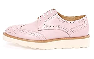 Santimon-Men's Genuine Nubuck Leather Carved Lace-up Business Oxford Shoes-pink-41