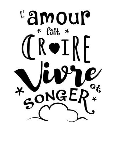 ZZ-Ambiance-sticker Vinilo Decorativo French Quote L'Amour Fait Croire, Vivre Et Songer