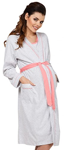 Zeta Ville Maternity - Womens Nursing Nightdress Robe Set Labour Hospital - 767c (Coral, US 6/8, M)