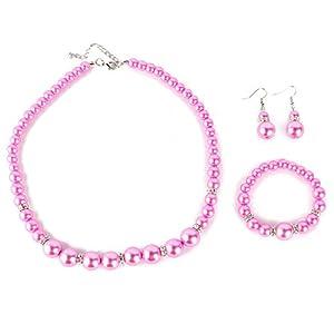 Yesurprise Schmuckset Perlen Armband Ohring Pearl Ball Beads Necklace Bracelet Earrings SET Geschenk Gift 004
