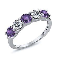 buy 0.75 Ct Round Purple Amethyst G/H Diamond 14K White Gold Wedding Band Ring