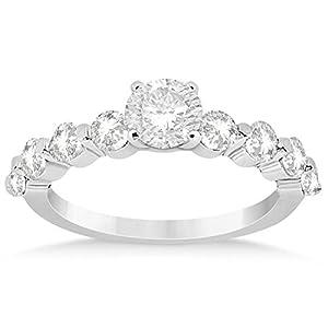 Allurez Women's Engagement Ring Setting with Diamond Side Stones Set in Precious Platinum (0.80ct) 12.75
