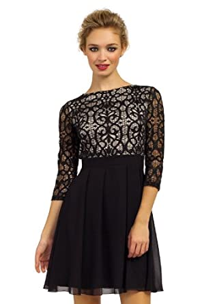 Black & Cream Lace Detail Long Sleeve Skater Dress 12 UK | US 8 Black ...
