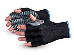 Superior S10VIBHF Vibrastop Nylon Anti Vibration Half Finger String Knit Glove with Anti-Vibe Chloroprene Coated Palm, Work, 7 Gauge Thickness, Large, Black (Pack of 1 Pair)