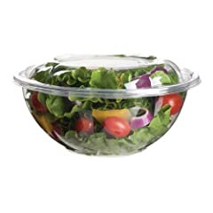 Eco-Products EP-SB24 Plant-Based Plastic Renewable and Compostable Salad Bowl with Lid 24oz Capacity (6 Packs of 25)